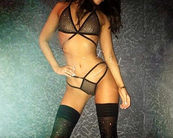 Fishnet lingerie set with Swarovski