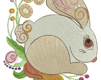 Garden Bunny - Machine Embroidery Design