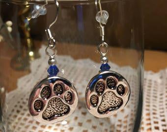 Silver Paw print earrings