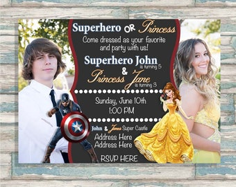 Captain America and Princess Belle Invite - Boy Girl Joint Party Invitation - ANY AGE - Superhero and Princess Birthday