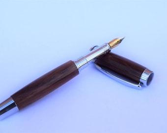 Hand Made Wooden Fountain Pen - Cocobolo Wood - Rhodium Nib.