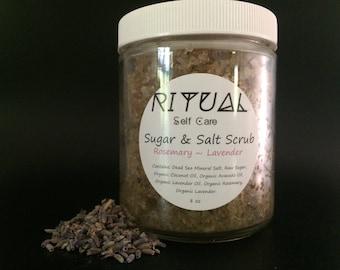 Sugar & Salt Scrub Rosemary~Lavender Natural Skin Care Organic Skin Care Body Care