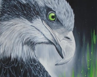 Golden Eagle, painting on canvas, original handmade.