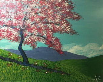 "Original 16X20 Acrylic Painting ""Cherry Blossom Hill"" on Stretched Canvas"