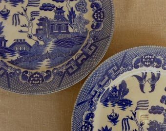 Pair of Blue Willow Pattern Plates - Occupied Japan