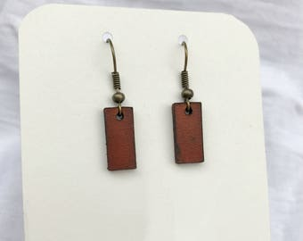 Leather Strip Earrings - Small - Minimalist Leather Jewelry - Leather Earrings - British Tan