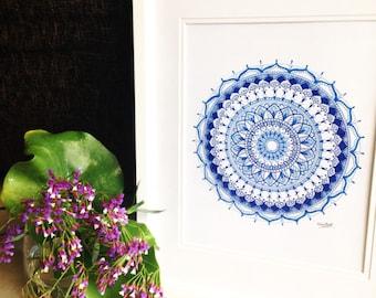Blue Mandala - Hand Drawn Art Prints