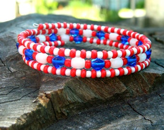 patriotic USA cute bracelet boho summer jewelry gift|for|her birthday|gift for college students best|friend beaded|bracelet women|gift|wife