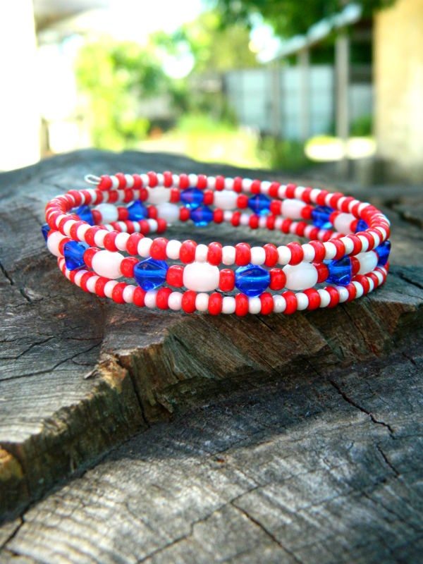 Patriotic USA Cute Bracelet Boho Summer Jewelry Gift