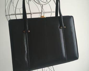 Black crocodile leather handbag vintage 50 years-50 years Original vintage black leather bag