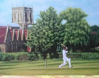 A Summer's Day in Sherborne.Fine Art Greeting Card From Original Oil Painting.Blank,Any Occasion,Birthday.Cricket,Sport Lovers.Rural.Country