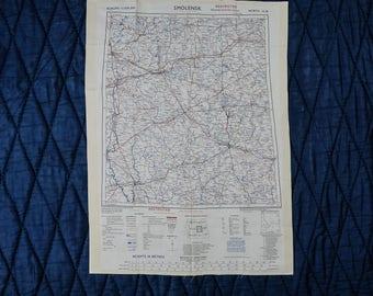 Vintage Silk SAS Escape Scarf Cloth Map from 1950 - SMOLENSK // LENINGRAD