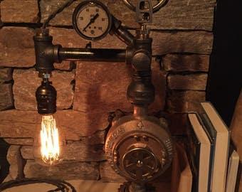Steampunk Industrial Pipe Lamp-  #104 Super Crane