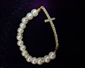 Beaded Faith Stretch Bracelet - White and Gold