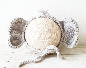 Crochet Baby Elephant Bonnet Hat Beanie Infant Newborn Baby Handmade Photography Photo Prop Handmade Baby Shower Gift Present