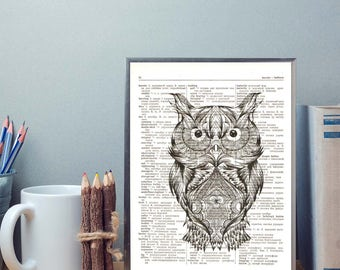 Ethnic style owl print, Print on vintage page, Dictionary art print, Book page poster, Wall art decor, Office decor, Home print art