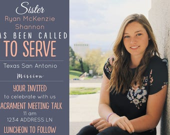 Sister Missionary Announcement/Invitation with Photo
