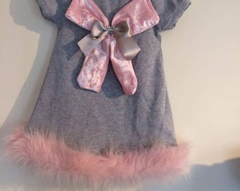 girls dress, fur trim, grey and pink dress, girls summer clothes,crushed velvet, birthday outfit, knit dress, comimh home oufit, baby girl