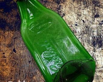 Flattened Glass Beer Bottle, Slumped Bottle, Green Beer Bottle, Grolsch