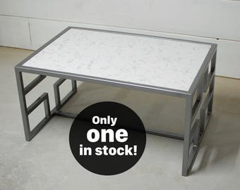 White Marble Coffee Table, Living Room Furniture, Square Table, Modern  Furniture, Contemporary