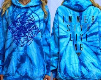 Ladies Festival Sacred Geometry Blue Tie Dye Vintage Hoodie Kong Handmade
