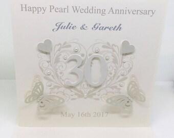 Beautiful Handmade Personalised Pearl wedding Anniversary Card 30 years