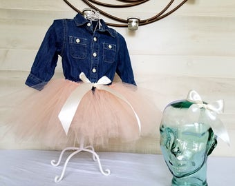 Tutu and matching headband in  Peach Tulle