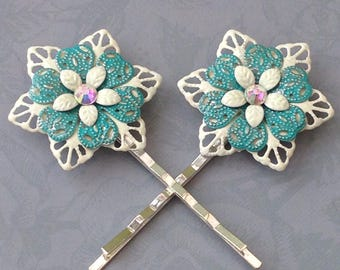 Wedding Hair Grips, Filigree Flower Bobby Pins, Hand Painted Hair Grip, Wedding, Bridesmaid gift, Rhinestone Ivory Teal, Unique gift for her