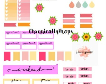 Spoonie Pink Sunset Planner Stickers, Printable, Weekly/Daily Stickers
