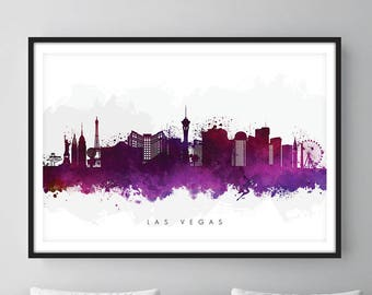 Las Vegas Skyline, Las Vegas Nevada Cityscape Art Print, Wall Art, Watercolor, Watercolour Art Decor [SWLAS08]
