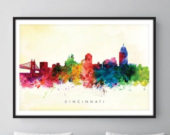 Cincinnati Skyline, Cincinnati Ohio Cityscape Art Print, Wall Art, Watercolor, Watercolour Art Decor