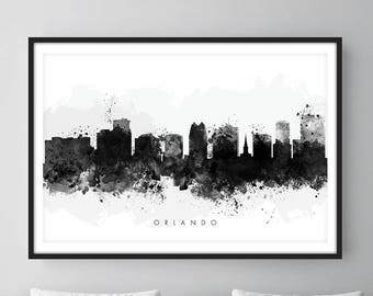 Orlando Skyline, Orlando Florida Cityscape Art Print, Wall Art, Watercolor, Watercolour Art Decor