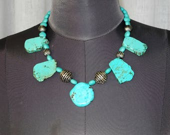 turquoise slab necklace, made from upcycled materials.