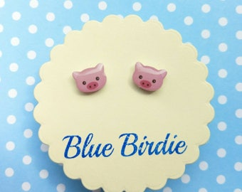 Tiny pig earrings pig jewellery pig jewelry pig stud earrings cute pig earrings pink pig studs pig gifts for her