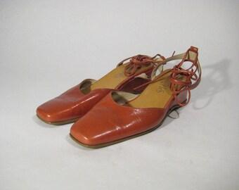 Vintage KARIS Women's Shoes Soft Leather Brown/Red Gladiators Heel Size 8,5us/6uk/39eu