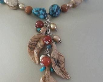 Picture Jasper Leaves Necklace, Picture Jasper Leaf Necklace, Picture Jasper Turquoise Necklace, Sterling Silver Necklace, autumn tones