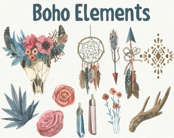 12 Watercolor Boho Cliparts, Boho Elements Cliparts, Watercolor Boho SVG, 330 ppi, HD, Vector File