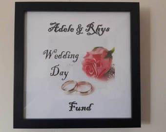 personalised picture, money saving, money frame, wedding picture, box frame