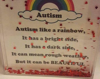 Autism water picture frame x personalised frame kids bedroom