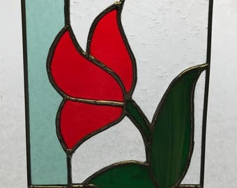 Red tulip suncatcher