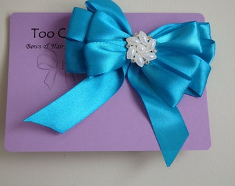 Blue Hair Bow with Pearl and Rhinestone Embellishment