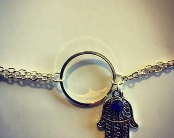 Siver Circle and Hamsa Bracelet
