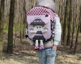 Pink and black Tessy Backpack| Personalized toddler backpack| Doll backpack| kids backpack| children's backpack, rucksack |