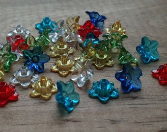 Lucite Flower Beads, Tiny Daisy, Primaries Mix