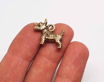 Vintage Terrier Charm, Gold Scotty dog Charm, Scottish Terrier Charm
