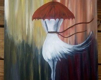Original Acrylic Painting Girl Rain Umbrella White dress