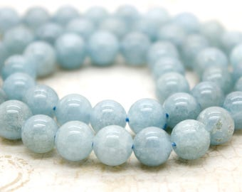 Aquamarine Round Beads Natural Stone Gemstone (6mm 8mm 10mm)