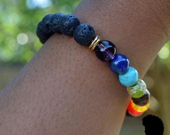 7 Chakra Bracelet w/ lava beads