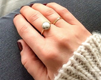 White howlite ring | 14k gold filled