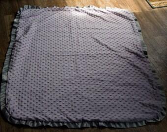 Purple minky ruffle blanket